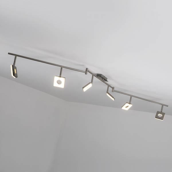 LED Spotbogen, 6-flammig (Z-Form), 6x 6W LED integriert, 6x 480 Lumen, 3000K, Metall / Kunststoff, eisen