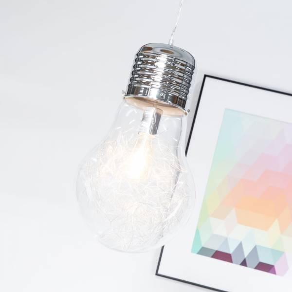 Design Hängeleuchte Pendelleuchte in Form einer Glühbirne Ø 27cm, 1x E27 max 60W, Metall / Glas, chrom / transparent