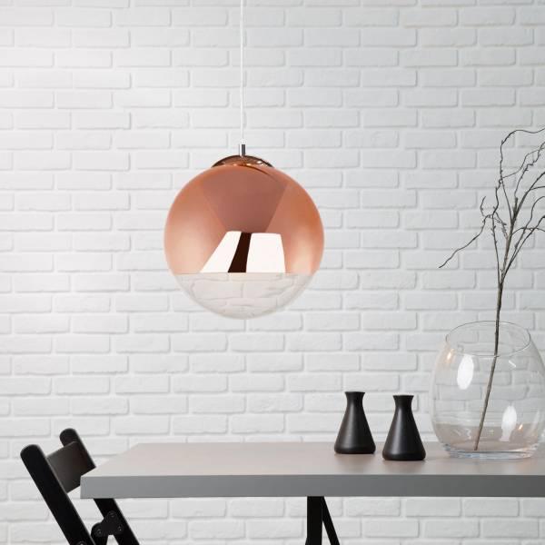Dekorative Pendelleuchte im exklusiven Design, H 104 cm, 1x E27 max. 60W, Glas / Metall, chrom / kupfer
