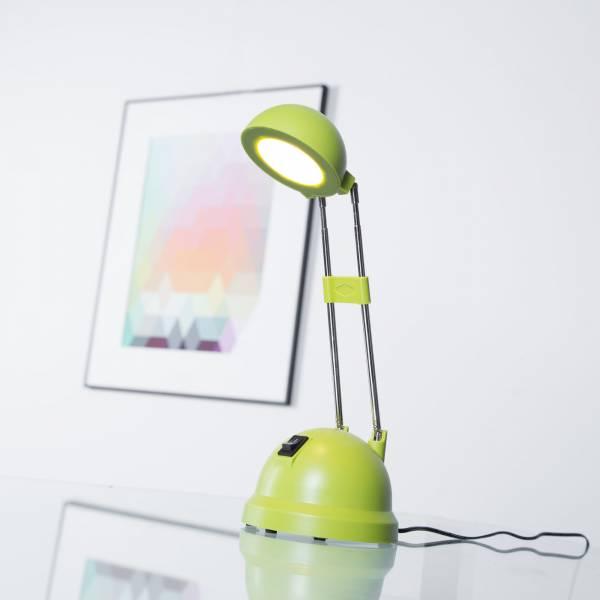 Schreibtischleuchte LED mit Teleskophals 20 - 44 cm Höhe, 600 Lumen, 8,3W, warmweiß 2.700K, Metall / Kunststoff, grün