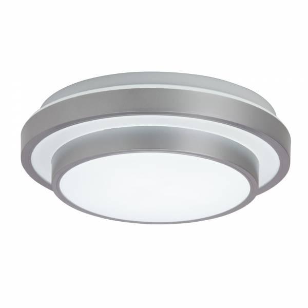LED Wand- und Deckenleuchte rund Ø 28cm, 10W LED integriert, 750 Lumen, 3000K warmweiß, Kunststoff, silber / weiß