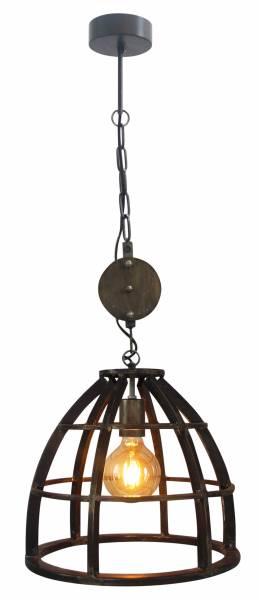 Pendelleuchte 34cm, 1x E27 max. 60W, , Metall / Holz, schwarz antik
