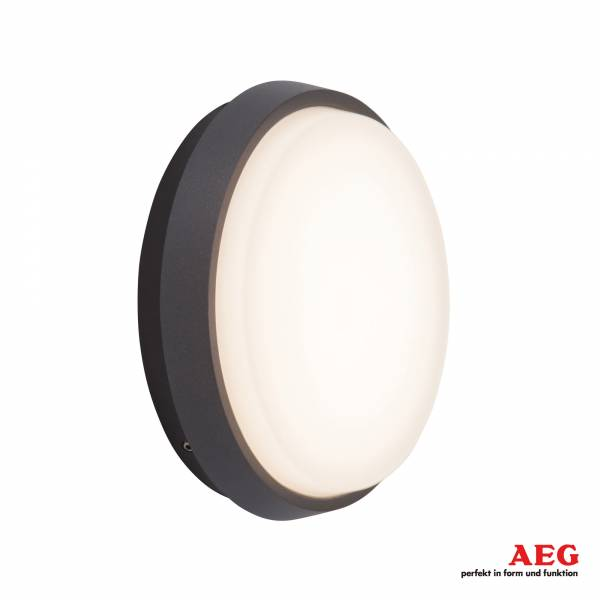 LED Außenwand- und Deckenleuchte rund, 1x 9W LED integriert, 1x 900 Lumen, 3000K warmweiß, Aluminium / Kunststoff, anthrazit / weiß