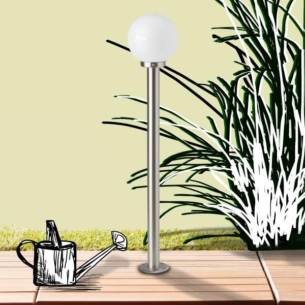 LED Außenstandleuchte Wegeleuchte, 1x 5.8W LED E27 inkl., 1x 630 Lumen, 2700K warmweiß, Edelstahl / Glas, edelstahl