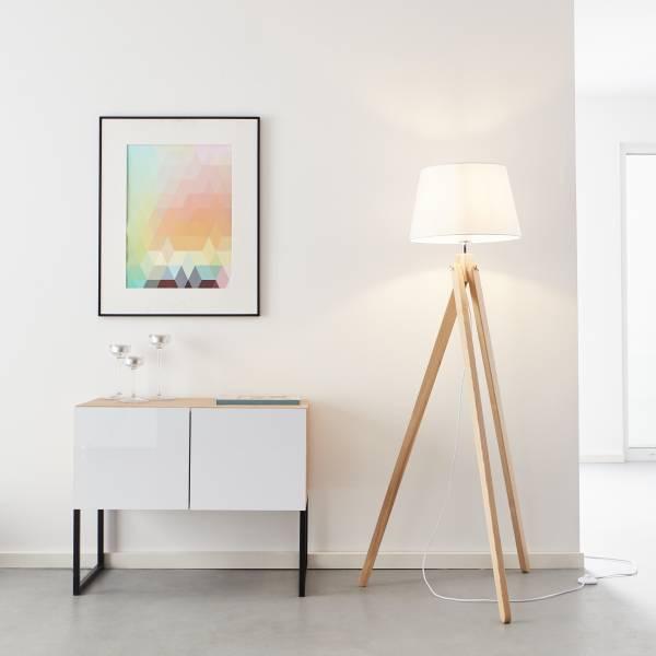 Lightbox Standleuchte dreibeinig, 1x E27 max. 60 Watt aus Holz / Textil in holz hell / weiß