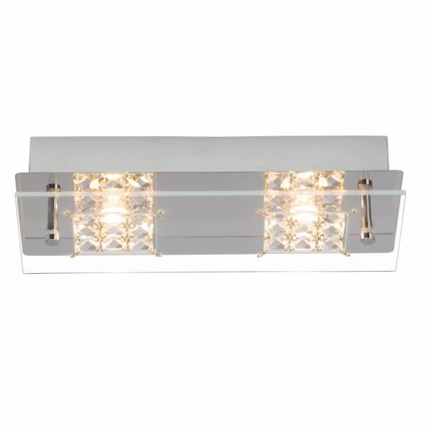 LED Wand- und Deckenleuchte mit Kristallapplikation, 2x 5W, 420 Lumen, 3000K warmweiß, Metall / Glas, chrom / transparent