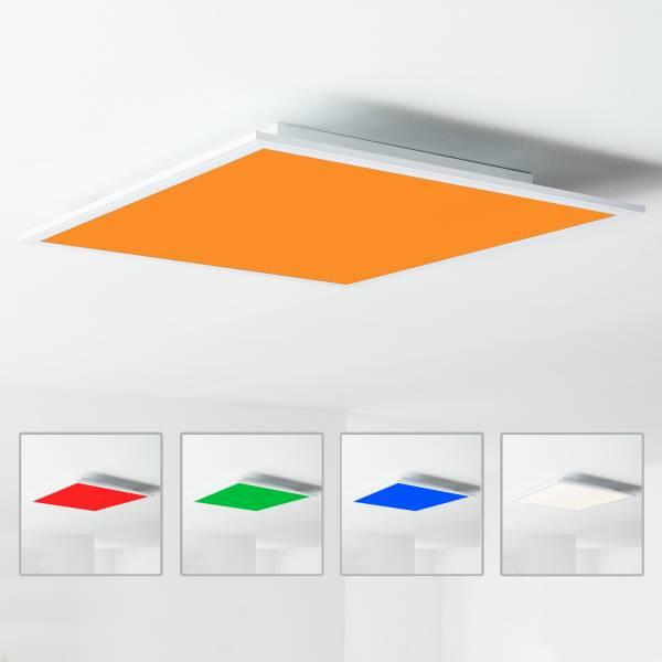 LED Panel Deckenleuchte, 60x60cm, dimmbar, RGB Farbwechsel per Fernbedienung steuerbar, 40 Watt, 2700-6500 Kelvin; Metall/Kunststoff, Weiß