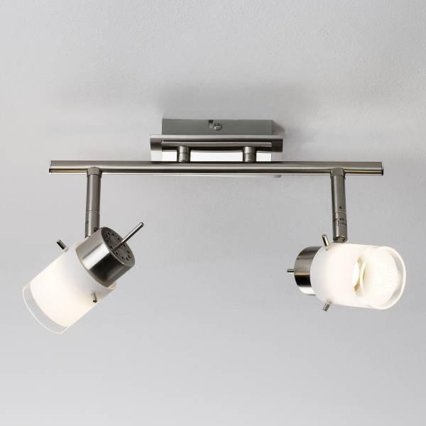 LED Spotrohr, 2-flammig, 2x 4W LED integriert, 2x 400 Lumen, 3000K, Metall / Glas, eisen