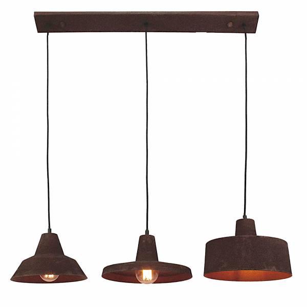 Pendelleuchte, 3-flammig, 3x E27 max. 60W, , Metall, schwarz-rost-braun / gewischt