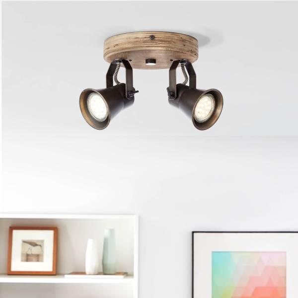 Lightbox Retro Spotrondell, 2-flammig, GU10 Fassung für max. 5 Watt, Metall / Holz, schwarz / braun