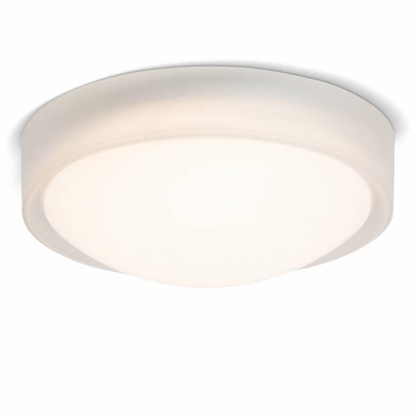 LED 10 Deckenleuchte im trendigen Design mit Leuchtrand, 750 Lumen, 3000K warmweiß, Ø 25 cm, Metall / Kunststoff, transparent / weiß