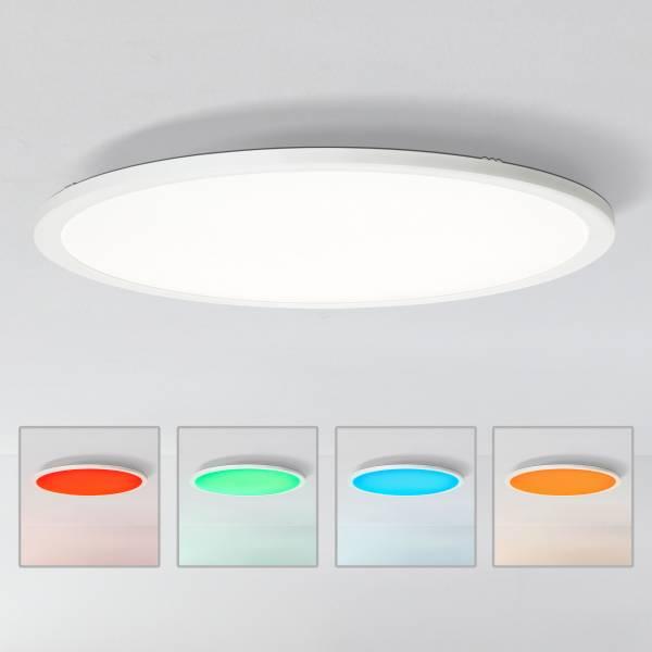 LED Panel Deckenleuchte, RGB Farbwechsel per Fernbedienung steuerbar, Ø60cm, 40 Watt, 3300 Lumen, 2700-6200 Kelvin aus Metall / Kunststoff in weiß