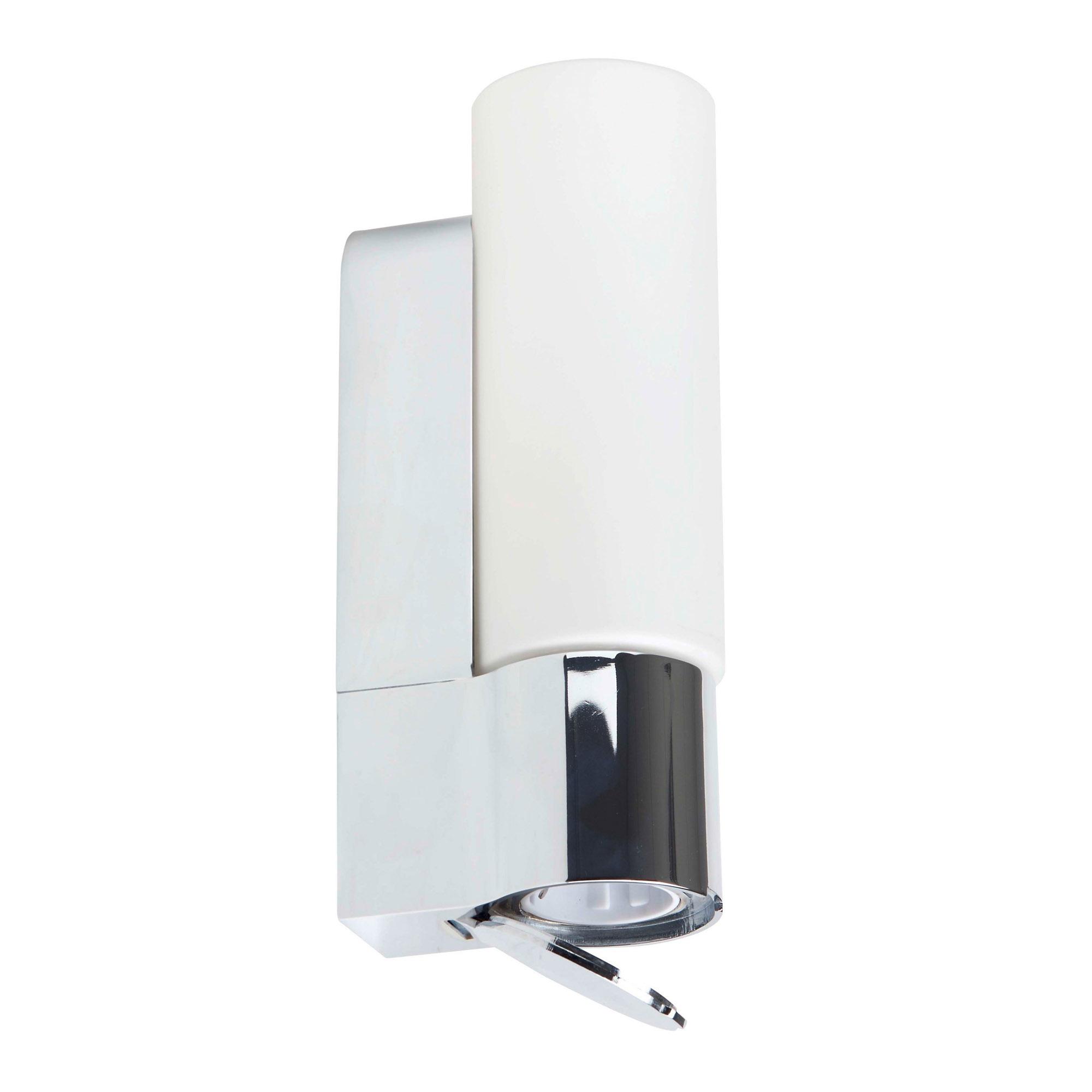 Badezimmer Wandleuchte mit integrierter Steckdose, IP16, E16 max. 16W,  Metall / Glas, chrom