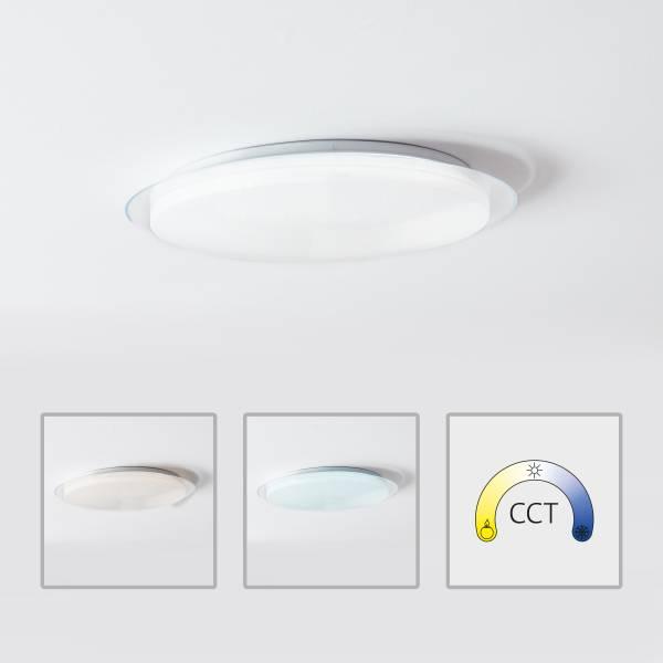 LED Wand- und Deckenleuchte 57cm, 1x 60W LED integriert, 1x 4390 Lumen, 3000-6000K, Metall / Kunststoff, weiß, dimmbar per Fernbedienung