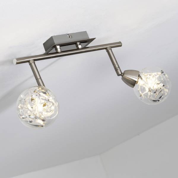LED Spotrohr, 2-flammig, 2x 3.5W LED integriert, 2x 320 Lumen, 3000K, Metall / Glas, alu / transparent