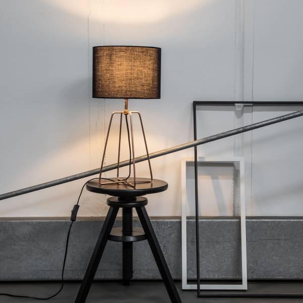 Moderne Tischleuchte mit Textilschirm und Gestell in Kupfer, 1x E27 max. 60W, Metall / Textil, schwarz / kupfer