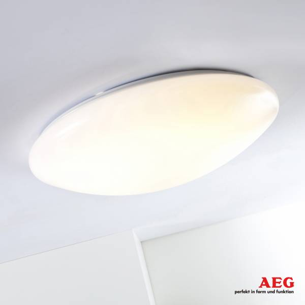 AEG 12W LED Deckenleuchte, dimmbar mit Lichtschalter (easydim), Ø 26cm, 800 Lumen, 3000K warmweiß, Kunststoff, weiß