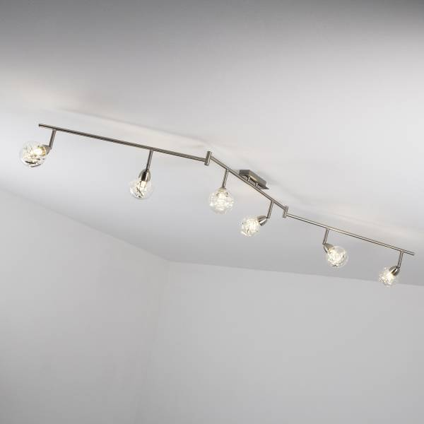 LED Spotbogen, 6-flammig (Z-Form), 6x 3.5W LED integriert, 6x 320 Lumen, 3000K, Metall / Glas, alu / transparent