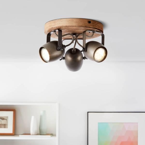 Lightbox Retro Deckenstrahler dimmbar, 3-flammig, LED Deckenstrahler schwenkbar, 3x GU10 für max. 20 Watt - Metall schwarz