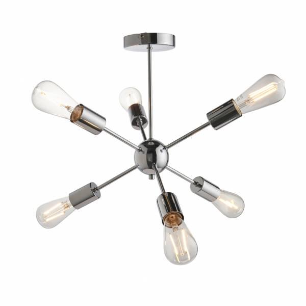 Lightbox dekorative Pendelleuchte im modernen Stil, geeignet für LED Leuchtmittel, 6x E27 max. 40W, Metall - Chrom