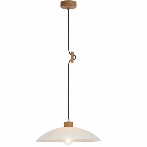 Pendelleuchte, 1-flammig, 1x E27 max. 60W, , Metall / Holz / Glas, eiche / weiß