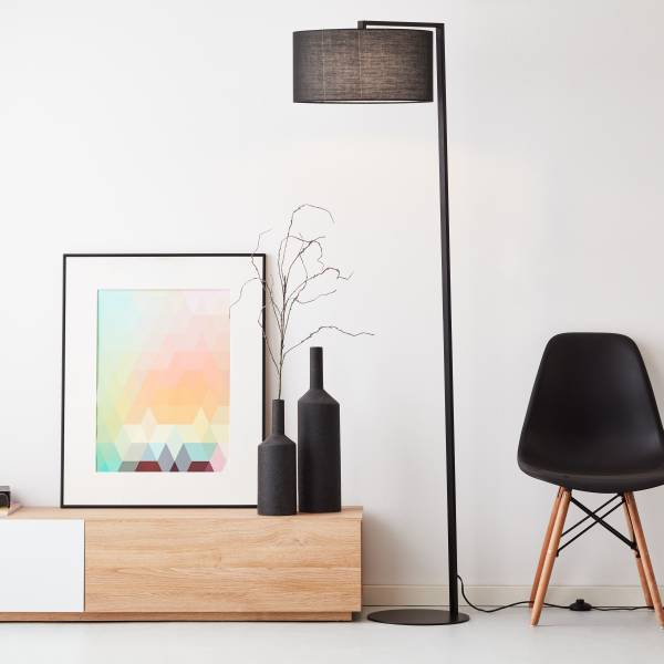 Lightbox elegante Stehleuchte, 1,75 m, 1x E27 max. 25 Watt aus Metall / Textil in schwarz