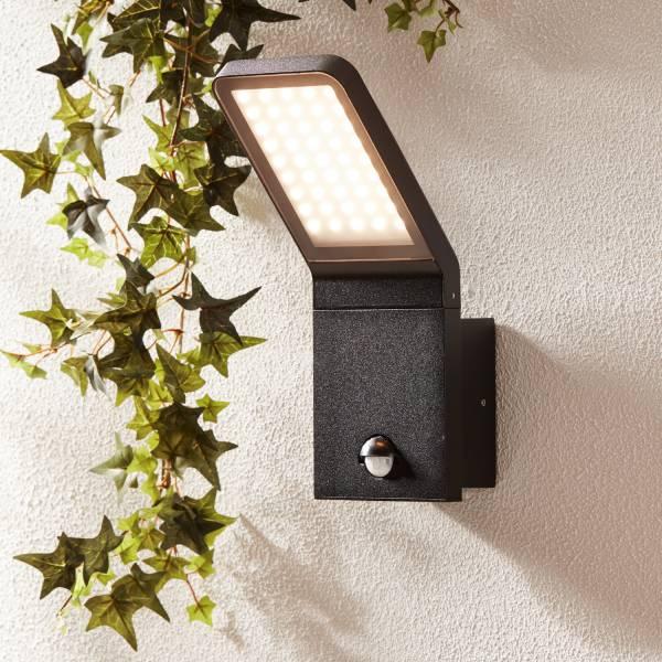 Moderne 9W LED Außenwandleuchte mit Bewegungsmelder, IP 44, 600 Lumen, 3000K warmweiß, Aluminium / Glas, schwarz