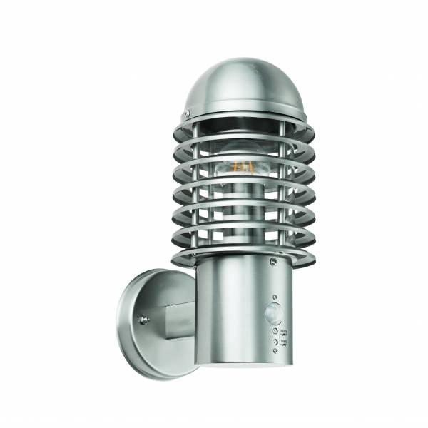 Lightbox Außenwandleuchte, für LED Leuchtmittel geeignet, spritzwassergeschützt nach IP 44, 1x E27 max. 60W, Metall/Kunststoff - Edelstahl