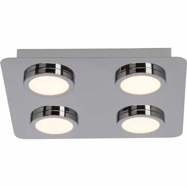 Badezimmer LED Deckenleuchte, IP44 Spritzwassergeschützt, 4x 5W LED  integriert, 4x 380 Lumen, 3000K warmweiß, Metall / Kunststoff, chrom / weiß