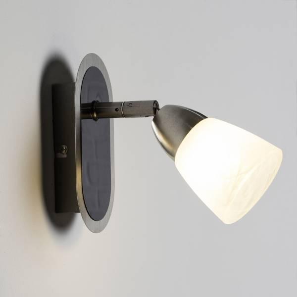 LED Wandspot, 1x 3.5W LED integriert, 1x 320 Lumen, 3000K, Metall / Glas, eisen / weiᄃ-alabaster