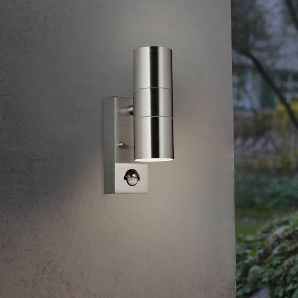 Außenwandleuchte, spritzwassergeschützt nach IP 44, 2x GU10 max. 18W, Metall / Glas , Edelstahl