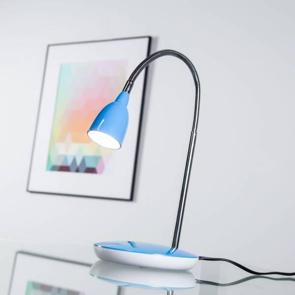 Moderne 3W LED Tischleuchte, Schreibtischleuchte, Nachttischleuchte mit Flexgelenk, Metall / Kunststoff, eisen / blau