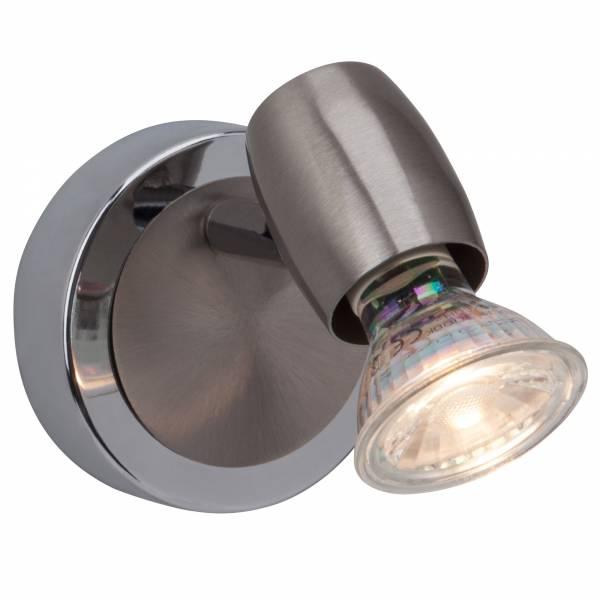 LED 2,5W Wandspot im klassischen Design, 1x GU10 2,5W LED inkl., 220 Lumen, 3000K warmweiß, Metall, eisen / chrom