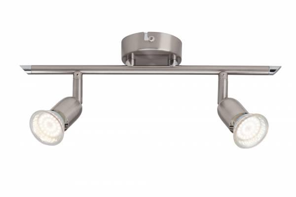 Schlichtes LED Spotbalken Deckenleuchte, 2x 2.5W GU10 LED inkl., 2x 250 Lumen, 3000K warmweiß, Metall, eisen