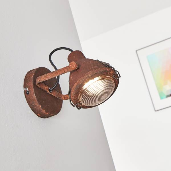 Wandspot, 1x GU10 max. 7W, Metall / Glas, rost / schwarz