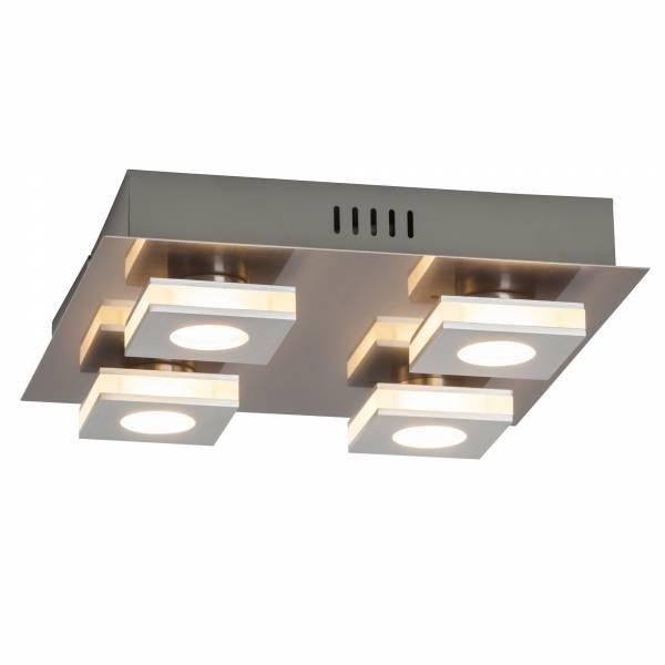 Moderne LED Deckenleuchte, 4x 4W LED integriert, 4x 320 Lumen, 3000K, Aluminium / Kunststoff, nickel / alu