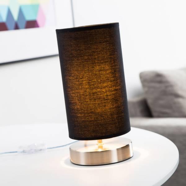 Tischleuchte, 1x E14 max. 40W, , Metall / Textil, eisen / schwarz