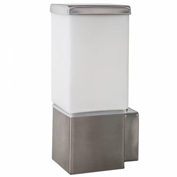 Schlichte Außenwandleuchte, IP44 Spritzwassergeschützt, 1x E27 max. 60W, Metall / Glas, edelstahl
