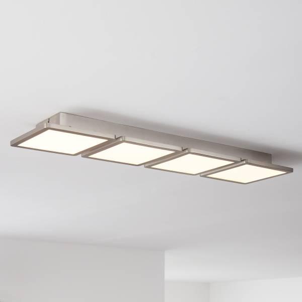Smarte LED Panel Deckenleuchte per App steuerbar, 83x20cm, 4x 12.5 Watt , 4x 825 Lumen, 2700-6200 Kelvin aus Metall / Kunststoff in nickel eloxiert
