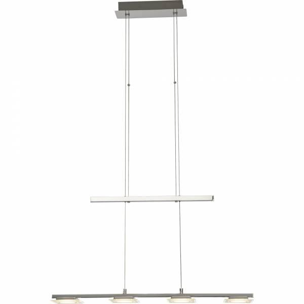 Elegante LED Pendelleuchte, höhenverstellbar, H 150cm, 4x 5W LED integriert, 4x 400 Lumen, 3000K warmweiß, Metall / Glas, chrom / weiß