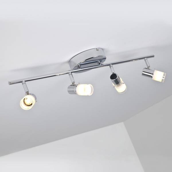 LED Deckenspot Lean, 4-flammig, 4x 200 Lumen, 4x 3W, 3000K warmweiß, Metall / Glas, chrom / weiß-transparent