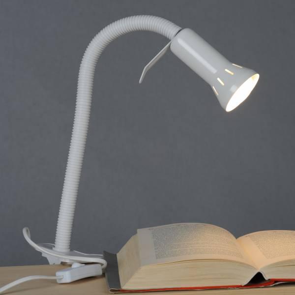 Praktische Klemmleuchte mit Flexgelenk, flexible Arbeitsleuchte, 1x E14 max. 40W, Metall / Kunststoff, weiß