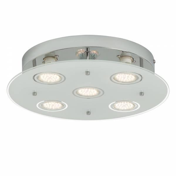 LED Deckenleuchte, 5-flammig rund; 5x 230 Lumen, warmweiß 3.000K, Ø 34cm, Metall / Glas, chrom / transparent mattglas