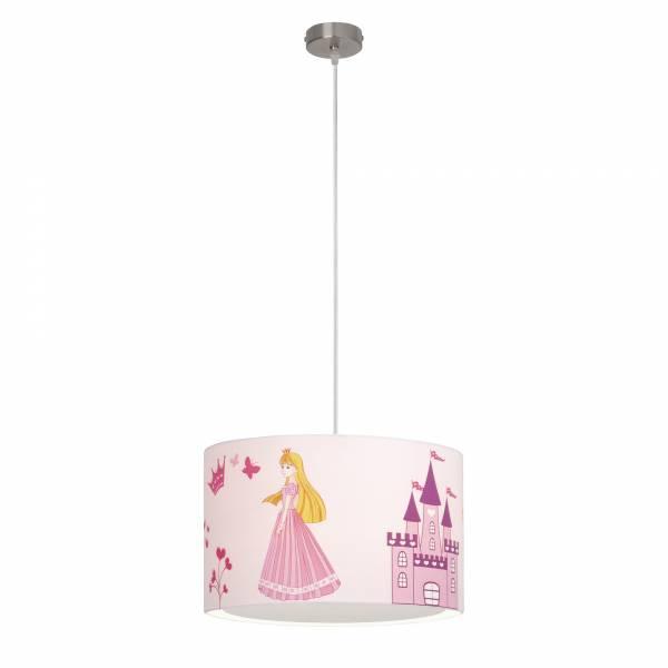 Pendelleuchte Princess, Stoffschirm mit Prinzessin und Schloß, Ø 40 cm, 1x E27 max. 50W, Metall / Textil, weiß / rosa