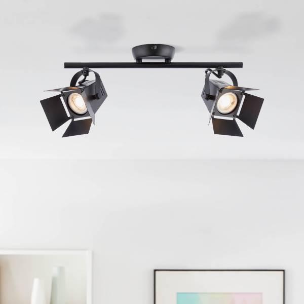 Lightbox Decken Strahler LED Spotrohr 2 flammig Köpfe schwenkbar 39x19cm warmweißes Licht Leuchtmittel inklusive und wechselbar 2x GU10, 5W, 380lm Met