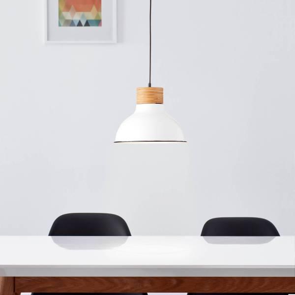 Landhaus Pendelleuchte Ø31cm, 1x E27 max. 40 Watt, aus Metall / Holz in weiß und hellem Holz