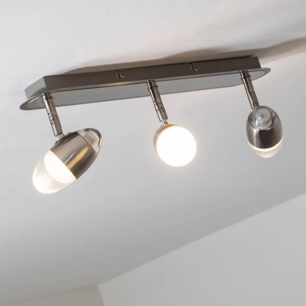 LED Spotrohr, 3-flammig, 3x 4W LED integriert, 3x 400 Lumen, 3000K, Metall / Glas, eisen