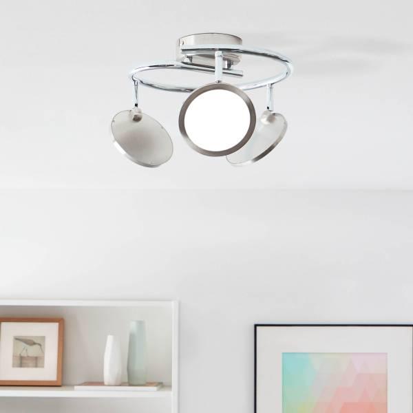 LED Spotspirale, 3-flammig, 3x 5W LED integriert, 3x 450 Lumen, 3000K, Metall / Kunststoff, nickel matt