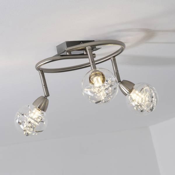 LED Spotspirale, 3-flammig, 3x 3.5W LED integriert, 3x 320 Lumen, 3000K, Metall / Glas, alu / transparent