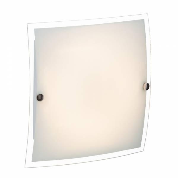Klassische Wandleuchte 23 x23 cm mit moderner LED-Technik, 10W, 750 Lumen, 3000K warmweiß, Metall / Glas, weiß